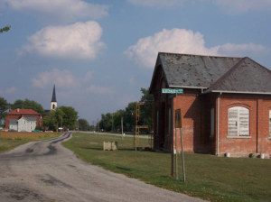 The oldest and newer Lincoln Highway alignments in Besancon. – Photo courtesy Indiana Lincoln Highway Association